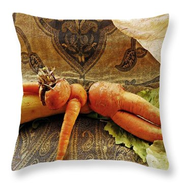 Reclining Nude Carrot Throw Pillow by Sarah Loft