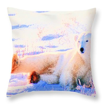 Reclining Polar Bear Throw Pillow