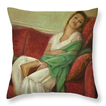 Reclining With Book Throw Pillow by Sarah Parks