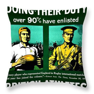 Recruiting Poster - Britain - Rugby Throw Pillow by Benjamin Yeager