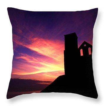 Reculver Church At Sunrise Throw Pillow