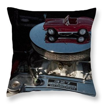Red 1962 Chevrolet Corvette - Engine 327 - 300 Throw Pillow by Liane Wright