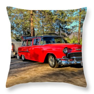 Red '55 Chevy Wagon Throw Pillow by Michael Pickett