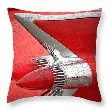 Red '59 Caddy Tail Throw Pillow