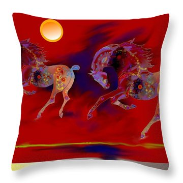 Red Abstract Horses  Throw Pillow