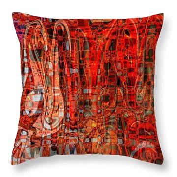 Red Abstract Panel Throw Pillow by Carol Groenen