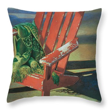Red Adirondack Chair Throw Pillow
