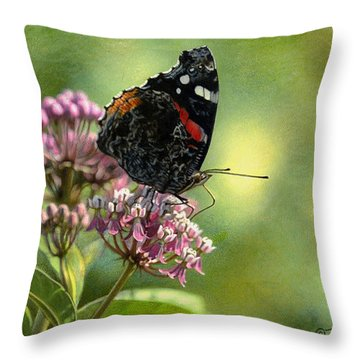 Red Admiral On Swamp Milkweed Throw Pillow