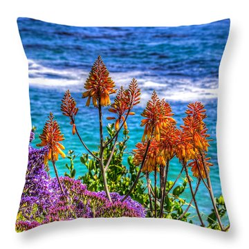 Throw Pillow featuring the photograph Red Aloe By The Pacific by Jim Carrell