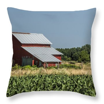 Red Amish Barn And Corn Fields Throw Pillow by Kathy Clark