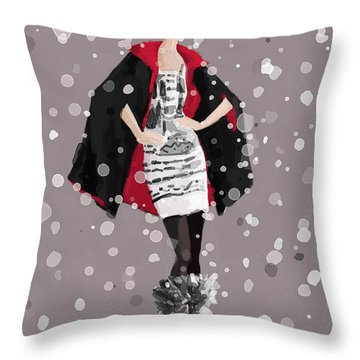 Red And Black Cape In The Snow Fashion Illustration Art Print Throw Pillow