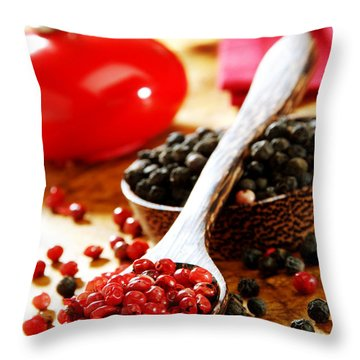 Red And Black Pepper Throw Pillow by Selke Boris