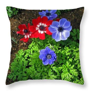 Red And Blue Anemones Throw Pillow by Ausra Huntington nee Paulauskaite