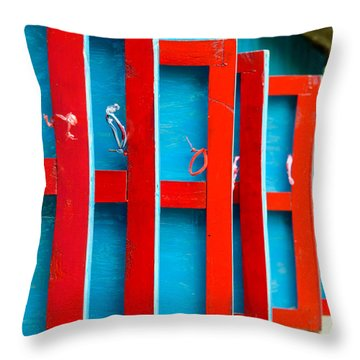 Red And Blue Wooden Shutters Throw Pillow