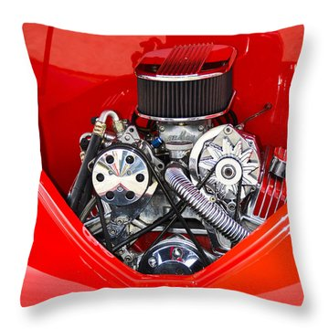 Red And Chrome Throw Pillow by Carolyn Marshall