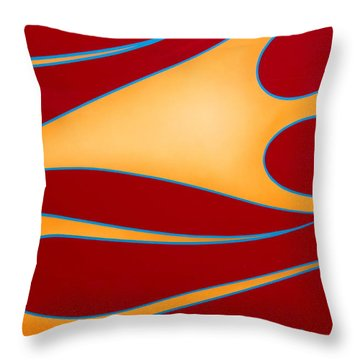 Red And Gold Throw Pillow by Joe Kozlowski