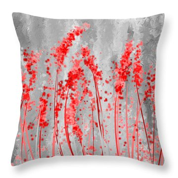 Red And Gray Art Throw Pillow