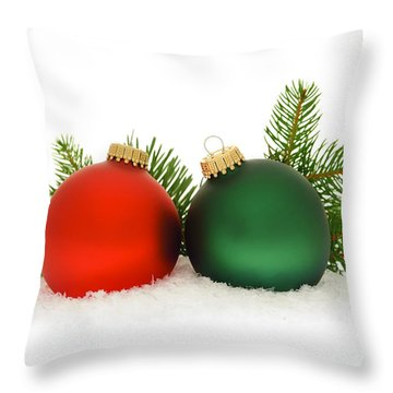 Red And Green Christmas Baubles Throw Pillow by Elena Elisseeva