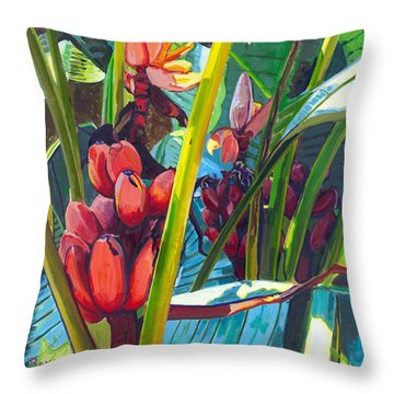Red And Green Throw Pillow by David Randall