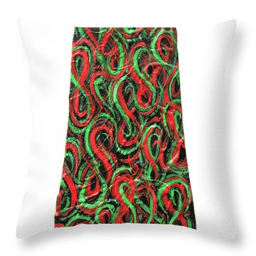 Red And Green Figure-eight Necktie Throw Pillow