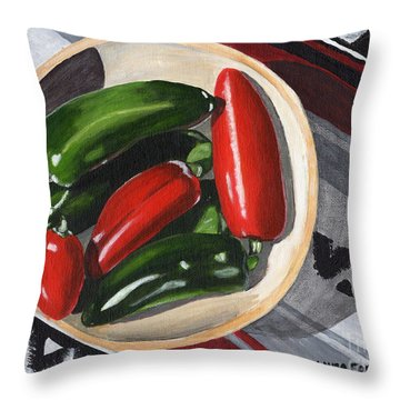 Throw Pillow featuring the painting Red And Green Peppers by Laura Forde