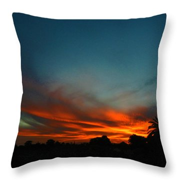 Red And Green Sunset Throw Pillow