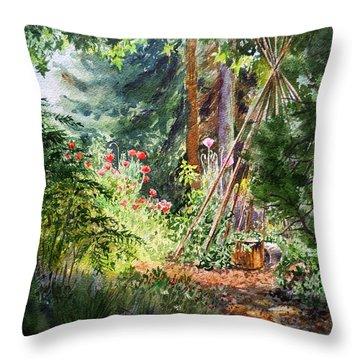 Throw Pillow featuring the painting Poppies Season In The Garden  by Irina Sztukowski
