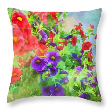 Red And Purple Calibrachoa - Digital Paint I Throw Pillow by Debbie Portwood