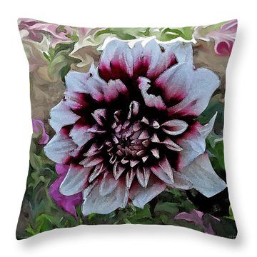 Red And White Dahlia  Throw Pillow