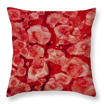 Red And White Throw Pillow by Darice Machel McGuire
