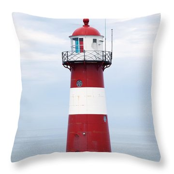 Red And White Lighthouse Throw Pillow by Peter Zoeller