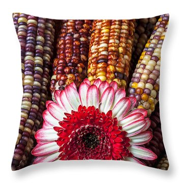 Red And White Mum With Indian Corn Throw Pillow by Garry Gay