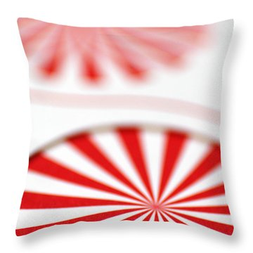 Red And White Pinwheels Throw Pillow by Amy Cicconi
