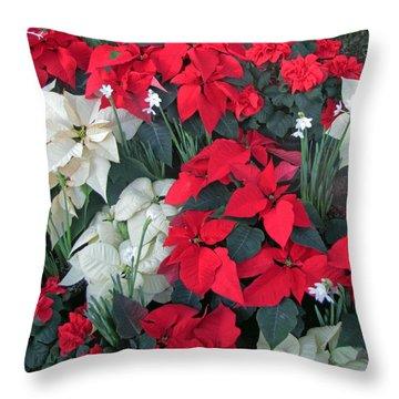 Red And White Poinsettias Throw Pillow