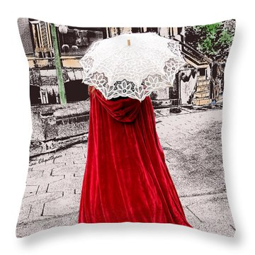 Red And White Walking Throw Pillow by Kae Cheatham