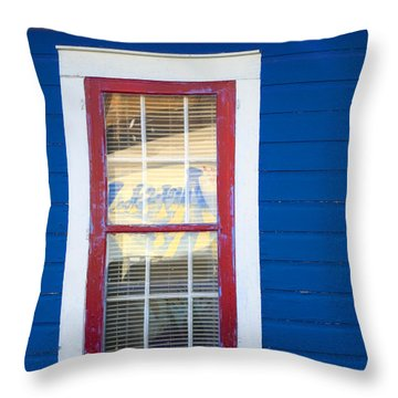 Red And White Window In Blue Wall Throw Pillow