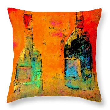 Throw Pillow featuring the painting Red And White Wine by Lisa Kaiser
