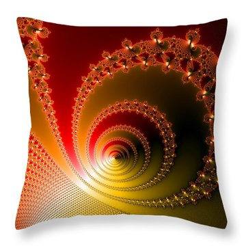 Red And Yellow Abstract Fractal Throw Pillow by Matthias Hauser