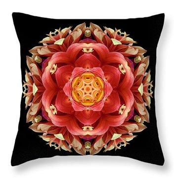 Red And Yellow Dahlia IIi Flower Mandala Throw Pillow by David J Bookbinder