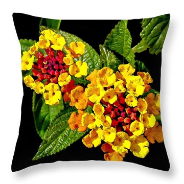 Red And Yellow Lantana Flowers With Green Leaves Throw Pillow