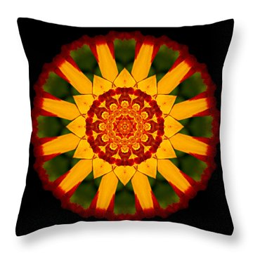 Red And Yellow Marigold V Flower Mandala Throw Pillow by David J Bookbinder