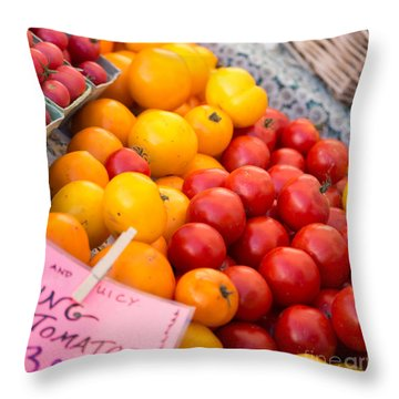 Red And Yellow Tomatoes Closeup Throw Pillow