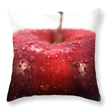 Red Apple Top Throw Pillow by John Rizzuto