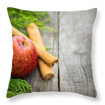 Red Apple With Cinnamon Sticks Throw Pillow