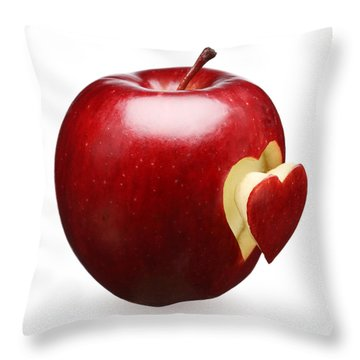 Red Apple With Heart Throw Pillow