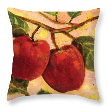 Red Apples On A Branch Throw Pillow by Jen Norton
