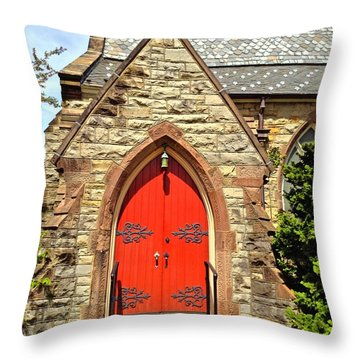 Throw Pillow featuring the photograph Red Arch Church Door 1 by Becky Lupe