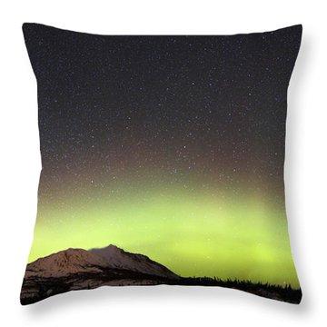 Red Aurora Borealis And Milky Way Throw Pillow by Joseph Bradley