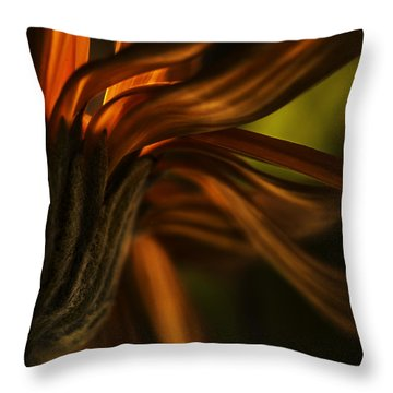 Throw Pillow featuring the photograph Red Autumn Blossom Detail by Peter v Quenter