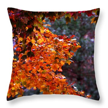 Red Autumn Leaves Drybrush Throw Pillow
